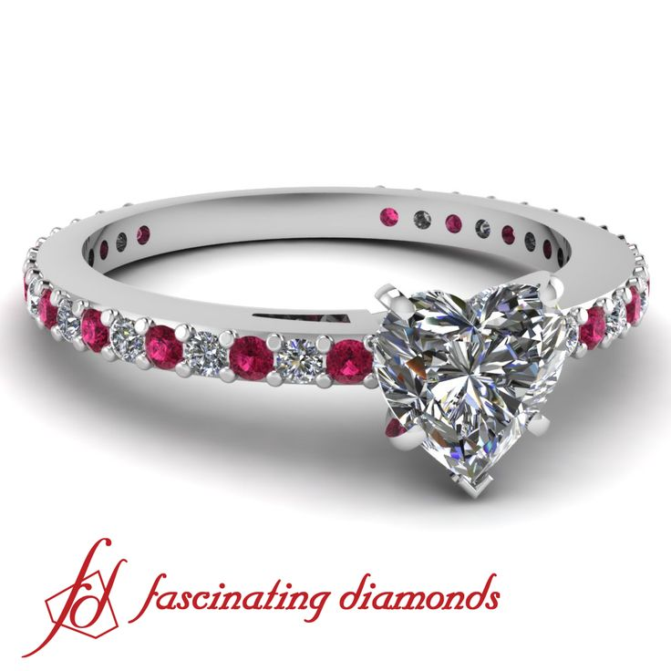 Heart Shaped Diamond Ring with pink Sapphire and alternating Diamonds