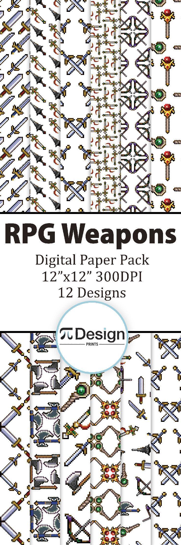 "Pixel Weapons 12""x12"" Digital Paper Pack 0f 12 | Video Game Digital Paper | Retro Video Game Pixel Pattern | Geeky Scrapbooking | DIY Gamer by Pi Design Prints"
