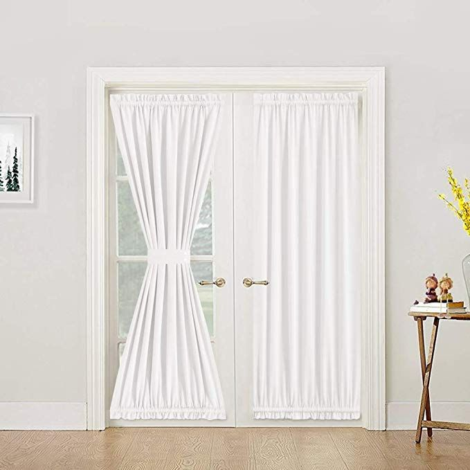 Amazon Com Lazzzy White French Door Panel Curtain Room Darkening Linen Textured Curtain Thermal Insula In 2020 French Door Curtains White Paneling Door Panel Curtains