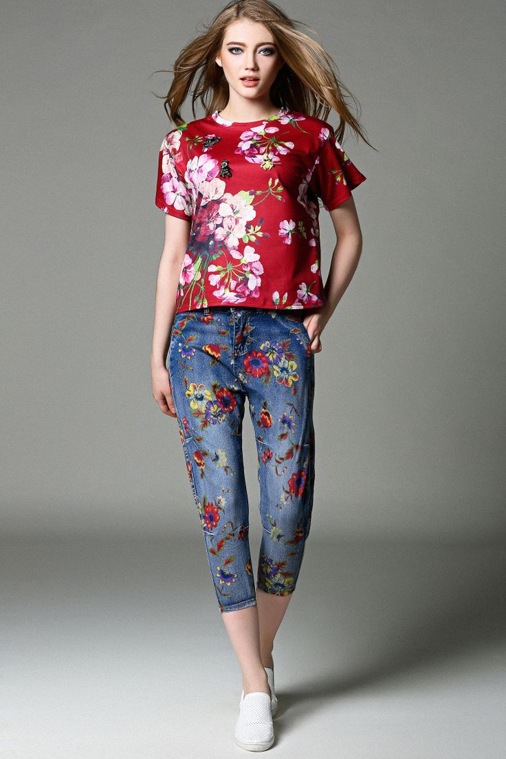 Plum flower printing cotton shirt +offset printing cal-length denim women pants