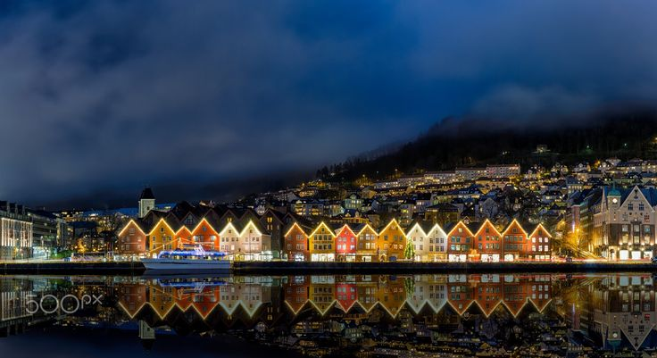 Reflections in The Night - Reflections in the night of the fantastic port of Bergen, Norway featuring Bryggen - the old wharf which is a UNESCO World Heritage site.