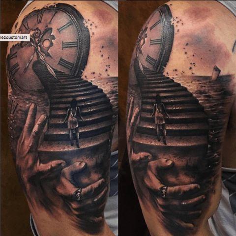 The stairway to…Tattoo by Carl Grace #inked #inkedmag #tattoo #Ink #idea #realism #stairway #black #grey