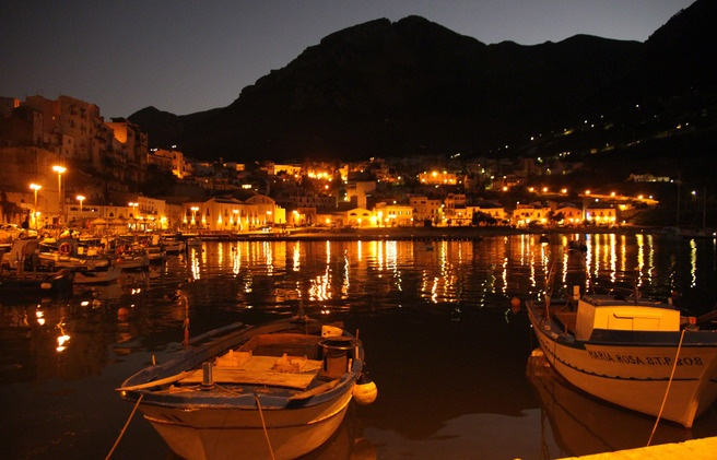 evening over the coastal cities of Sicily
