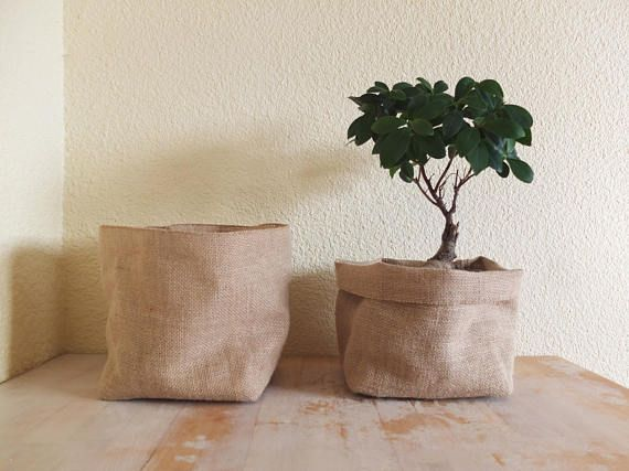Jute Pot Holder Burlap Planter Storage Basket Large Toile