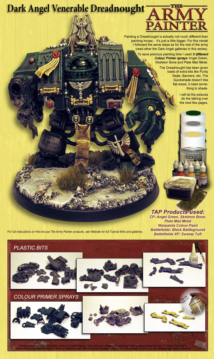 Painting miniatures color master primer - Painting A Warhammer 40k Dark Angels Drednaught With Warpaints By The Army Painter