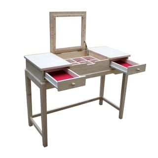 Shop For Unfinished Solid Parawood Vanity Table. Get Free Delivery At  Overstock.com