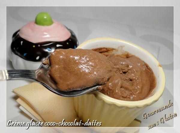 Crème glacée coco chocolat dattes, sans gluten, sans lactose    #glutenfree