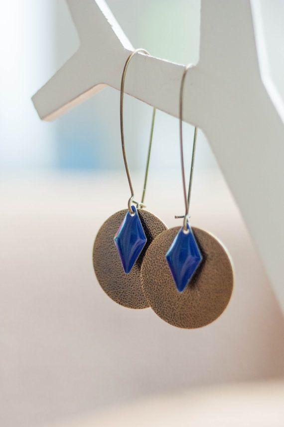 Dangling earrings / / round and diamond marine and by PrettyDot, €11.00