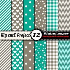 Feuilles numériques - digital papier - cyan foncé et gris chaud - pois, chevron, vichy, rayures, coeurs