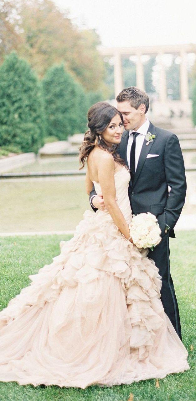 Plus size pink wedding dresses  Strapless Blush Pink Ball Gown Wedding Dresses Organza Ruffle