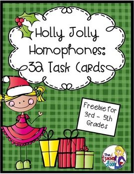 Freebie! 32 Holly Jolly Homophones for 3rd - 5th Grade. Kids get focused language practice while having fun!