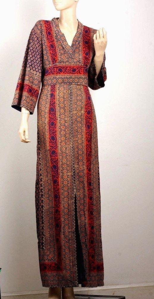 vintage 70 s batik caftan ethnic boho india maxi coachella