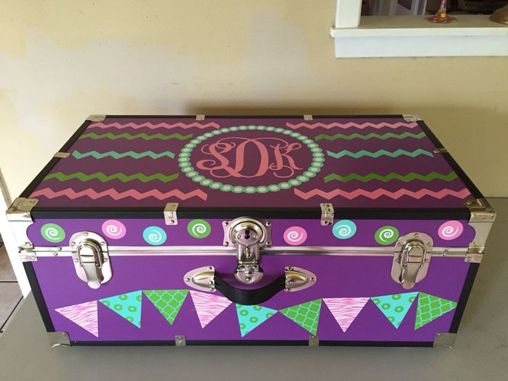 Custom summer camp trunk decorated with vinyl monogram and decals instagram mckenzie point