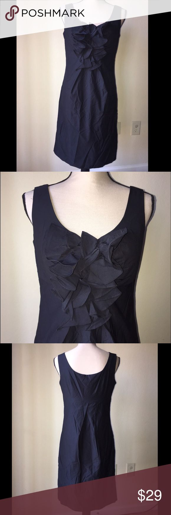 "NEW Donna Ricco Cocktail Ruffles Neck Dress Size 6 NEW Donna Ricco Nordstrom Black Cocktail Ruffles Neck Dress Size 6 New with tag! Length from pit to bottom: 29"" Pet and smoke free home. If you have any questions feel free to ask. Donna Ricco Dresses Midi"