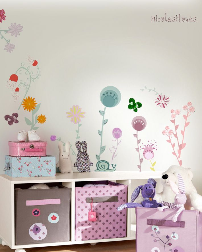 Flowers vinilos de flores cuarto ni as nursery wall for Donde comprar cuadros para decorar