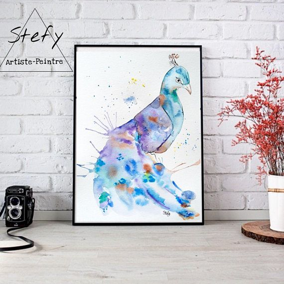 Retrouvez cet article dans ma boutique Etsy https://www.etsy.com/ca-fr/listing/590541121/illustration-paon-paon-aquarelle-affiche