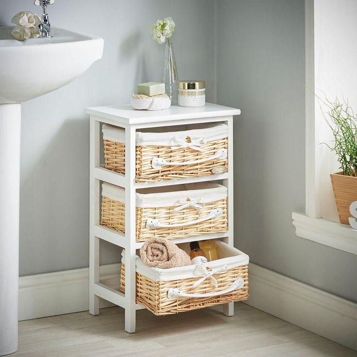 3 Wicker Storage Drawer Unit Vonhaus, White Wicker Bathroom Cabinet