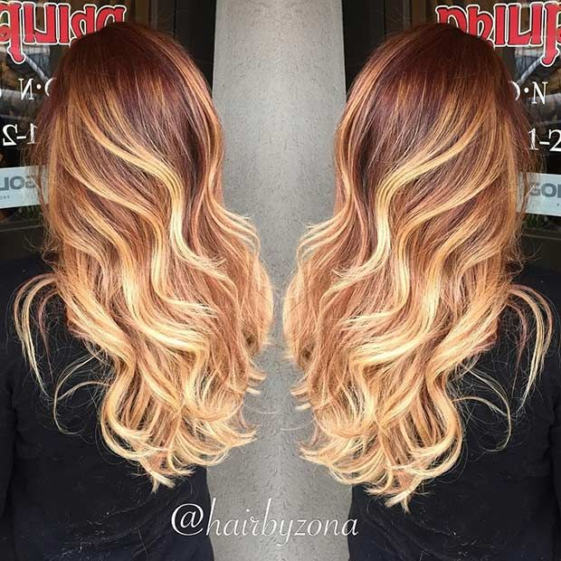 Dark Copper Roots + Golden Blonde Balayage Highlights