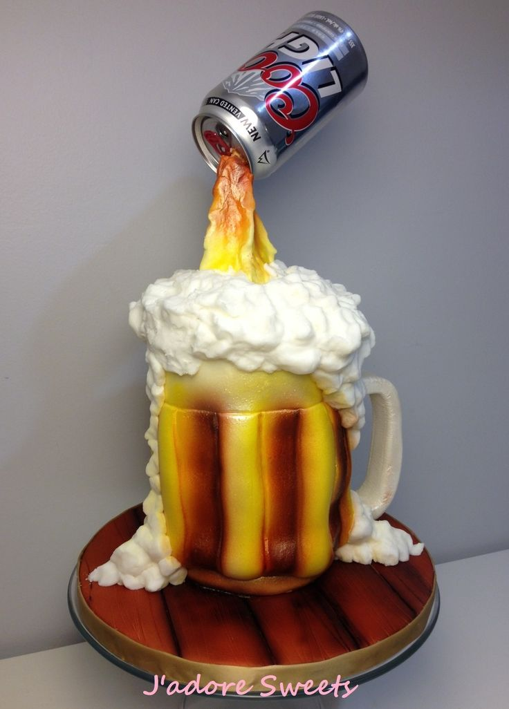 3d Sugar Beer Bottle In A Barrel Cake The Sugar Beer Bottles And Sugar Ice Chips Are Isomalt I Made My Own Beer Mould Using Easy Mold A M
