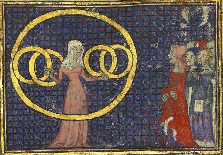 Fortune's Wheel, Guillaume de Marchaut, Paris end of the 14thc