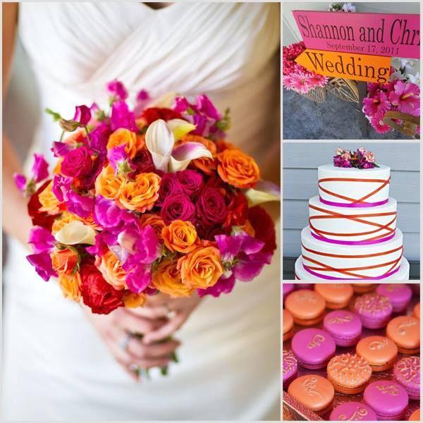 Kleurinspiratie: magenta en oranje kleuraccenten voor jullie bruiloft www.weddings.nl