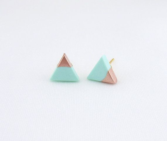 Mint // Rose Gold Dipped Triangle Stud Earrings