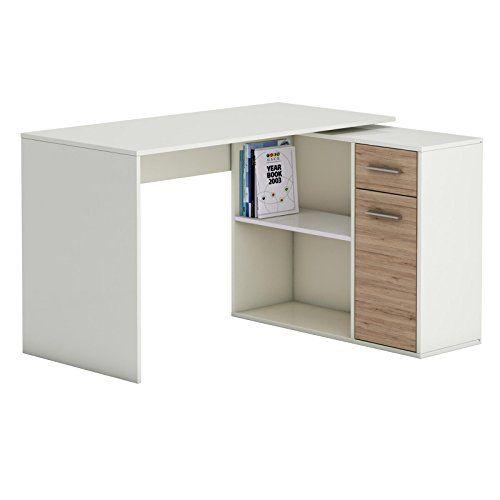 Eckschreibtisch Schreibtisch Computertisch LENA, in Sonoma Eiche/weiß Kinderschreibtisch 120x75x91,5 cm