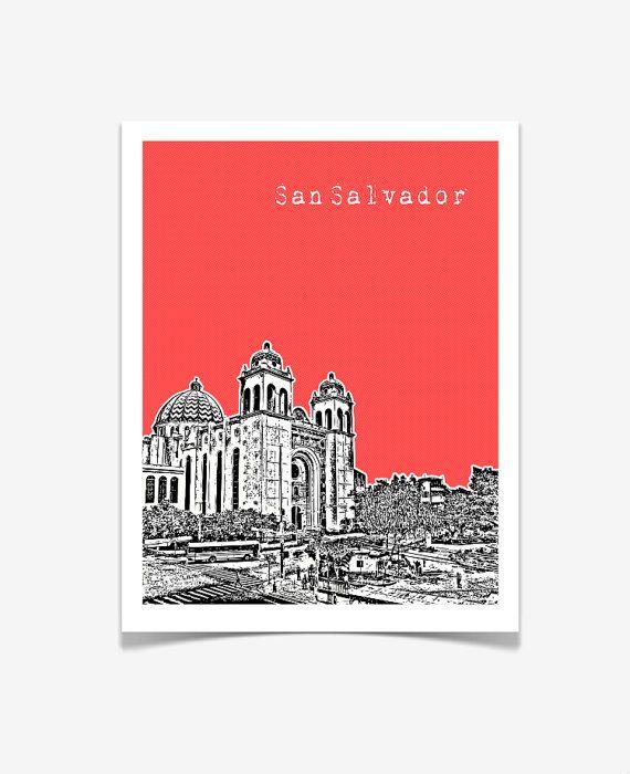 San Salvador El Salvador Poster City Skyline by BugsyAndSprite