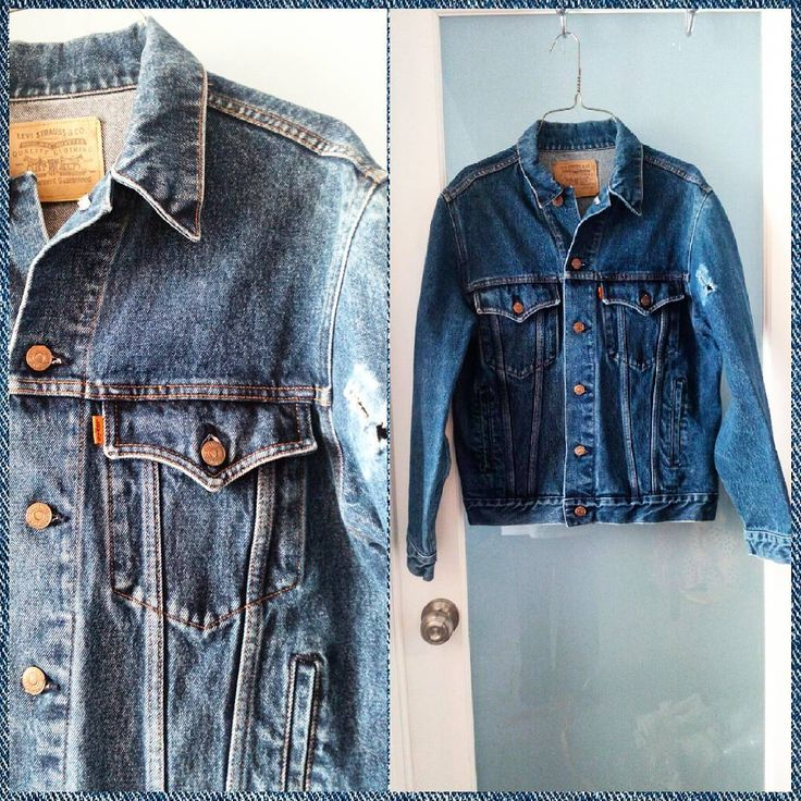 "Vintage Levi's Orange Tab denim trucker jacket, Men's L (chest measures 41""). It has a hole in one arm; priced accordingly.  Add a patch or make into a vest."