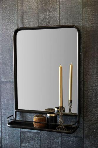 Black Wall Mirror with Shelf