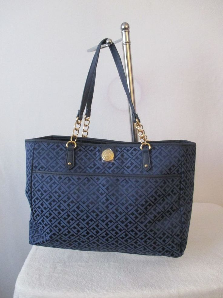 Tommy Hilfiger Handbags Tote 6932683 478 Color Blue Gold Retail $ 99.00…