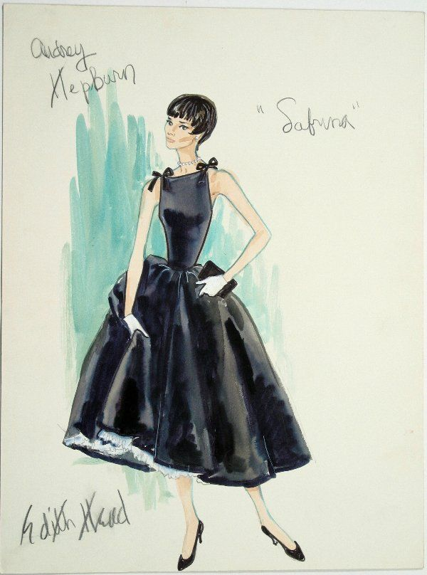 """Costume design by Edith Head for Audrey Hepburn in """"Sabrina"""" (1954)"""
