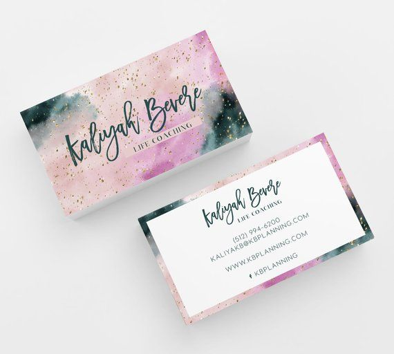 Watercolor Pink Business Card 500 Printed Business Cards Personalized Calling Card Blogger Salon Makeup Hair Brow Lipsense Monat Coaching Pink Business Card Art Business Cards Freelance Business Card