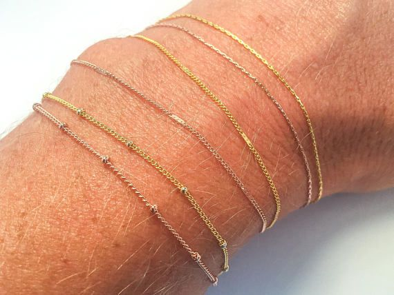 Delicate Thin Gold Bracelets & Anklets Δ Simple Gold Chain