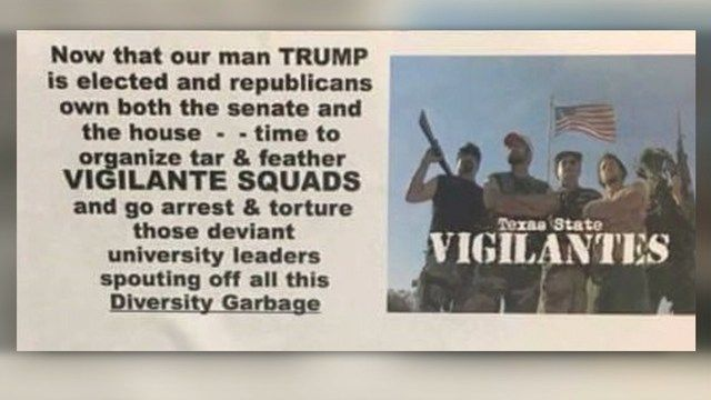 SAN MARCOS, Texas -- An investigation is underway after vigilante fliers were allegedly found on the Texas State University campus.