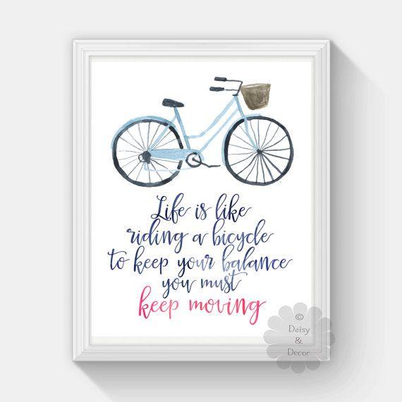 Het leven is als het berijden van een fiets houden verplaatsen citaat typografische fietsen afdrukbare muur kunst kwekerij decor tiener kamer art poster kunst afdrukken afdrukken