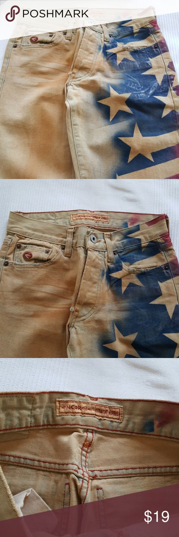 AMERICAN FLAG PRINTED DISTRESSED JEAN American Flag printed distressed design denim jean, Mid rise button up Length 41 inc. Inseam 31 inc.. Energie Jeans Boot Cut