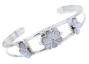 Zuni Mother of Pearl Flower Inlay Cuff Bracelet Jewelry BW65567 SilverTribe. $64.99