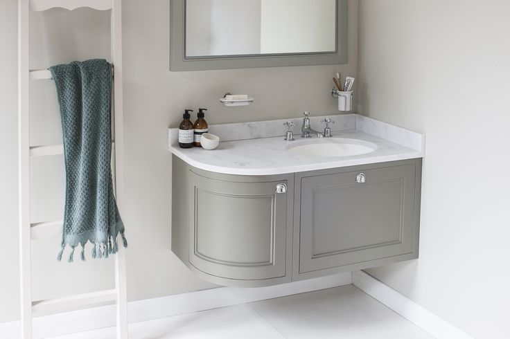 Experiment with your neutrals palette with the Dark Olive Right Handed Wall Hung 100 Curved Corner Vanity Unit from Burlington Bathrooms http://www.burlingtonbathrooms.com/Products/ProductDetail?prodId=90571&name=Wall%20Hung%20100%20Curved%20Corner%20Vanity%20Unit%20Left%20Hand%20-%20Dark%20Olive%20and%20Minerva%20Carrara%20white%20worktop%20with%20integrated%20white%20basin