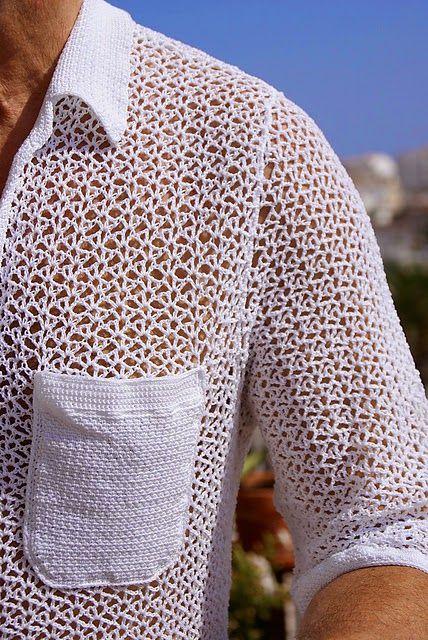 Camisa polo de crochê