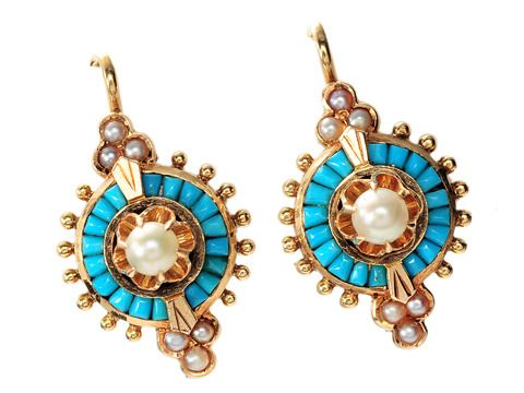 Victorian Pavé Turquoise & Pearl Earrings, c. 1870-80