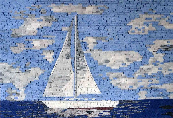Sailing Boat - Seascape | Marble and Glass Mosaic Tiles | Mosaic Murals - Mosaic Art from #Mozaico