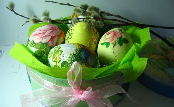 Holiday Easter  Holiday Basket Ribbon Egg Easter Egg Pussy Willow Colorful Wallpaper