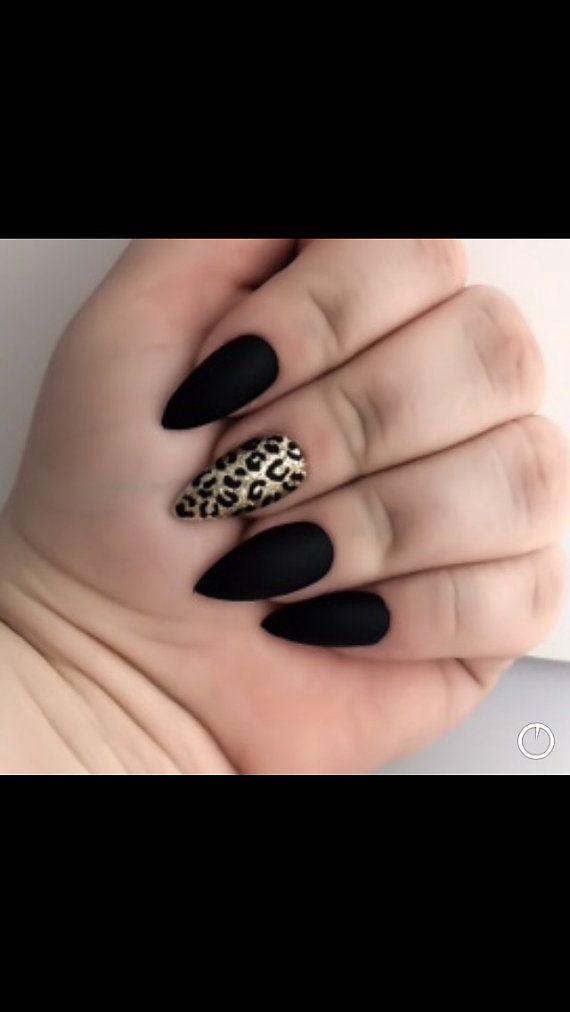 Mate falso uñas uñas Stilleto falso negro uñas por LetThemSparkle