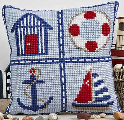 Nautical Cross Stitch Cushion Kit By Twilleys of Stamford