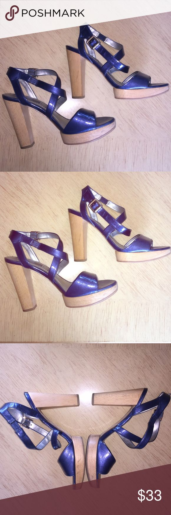 Nine West Strappy High Heels Super Cute Blue Strappy Nine West High Heels W/ Wooden Like Heel & Bottoms. In Ok Used Condition , Some Wear & Tear, but they Look Great On! Any Questions Please Ask! More Pics Upon Request. Nine West Shoes Heels