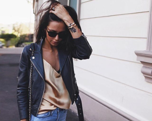 Leather jacket | silk cami ~ @stephyoung498 ♡