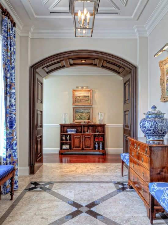 Traditional Design, archway: Design House, House Ideas, Hall Design, Dark Archway, Traditional Hall, Curtain Fabric, Hallway Traditional