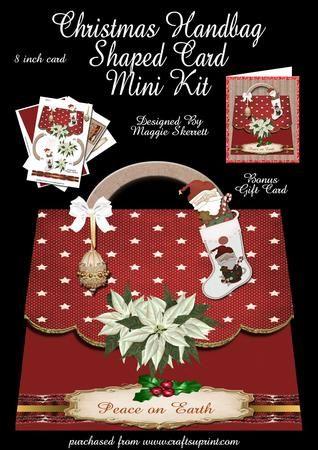 Christmas Handbag shaped Card plus Bonus Gift Card  on Craftsuprint - Add To Basket!