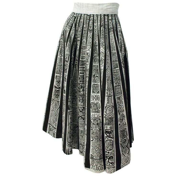 50s Aztec Print Skirt | From a collection of rare vintage skirts at https://www.1stdibs.com/fashion/clothing/skirts/